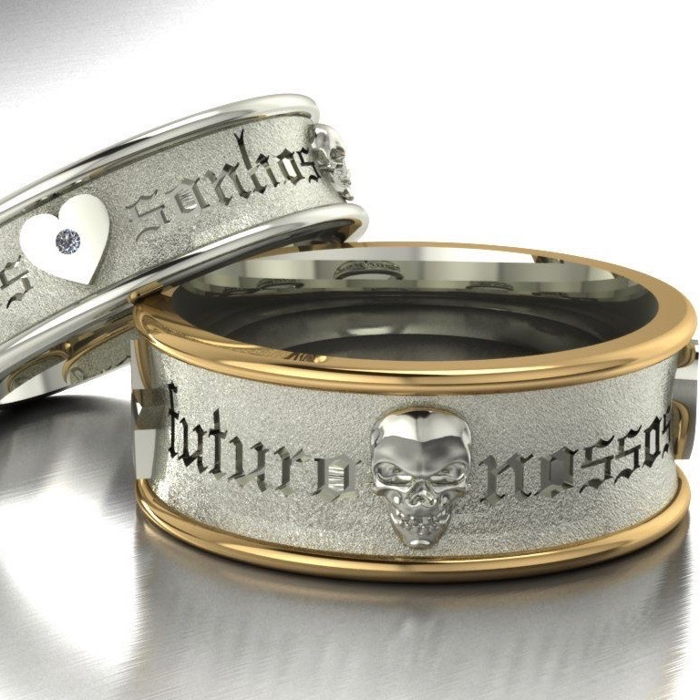 Wedding Ring Set Custom made in 18ct White Gold with a Diamond Heart & the other in Sterling Silver with 18ct Yellow Gold Bands