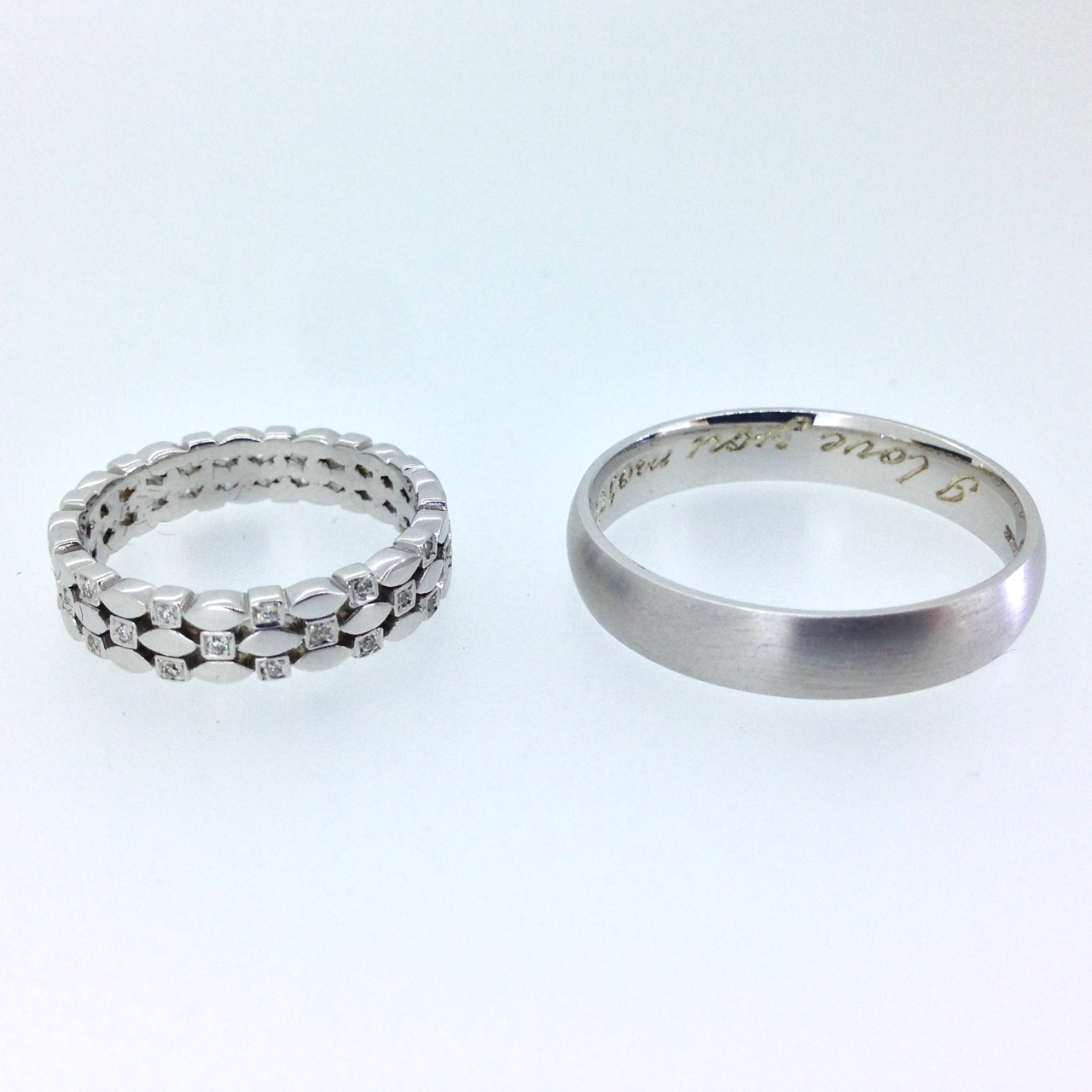 9ct White Gold Custom Wedding Ring Pair with Diamonds and hand engraved message