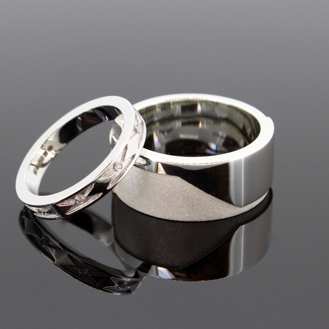 Enigma Wedding RIng pair in18ct White Gold with Diamonds & Sterling Silver