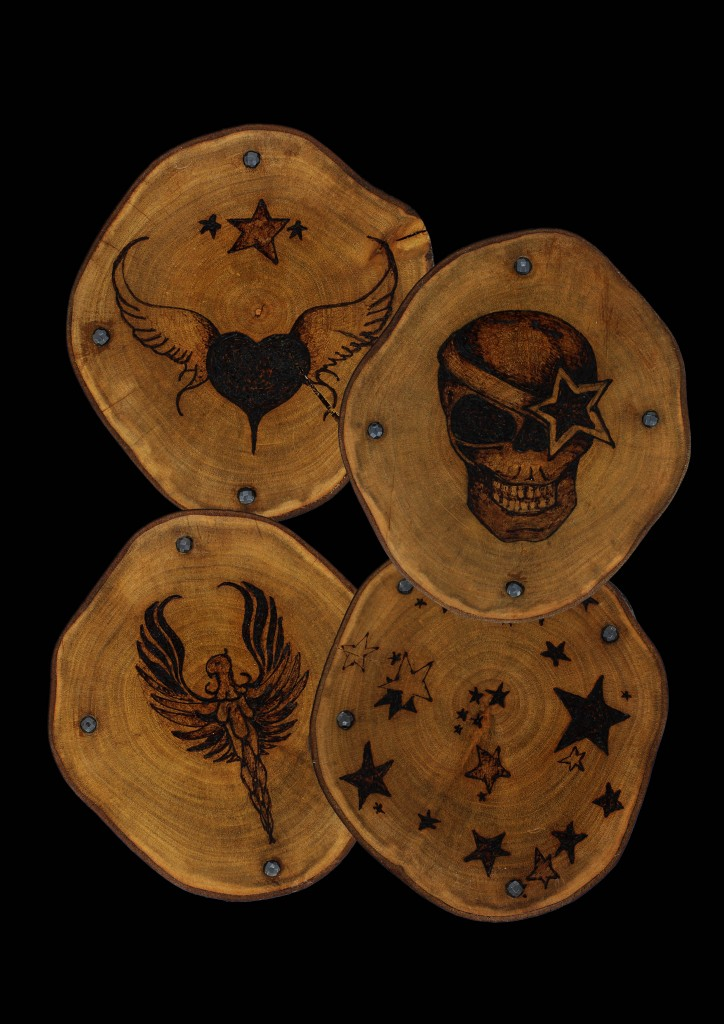 Large handcrafted wooden coaster set