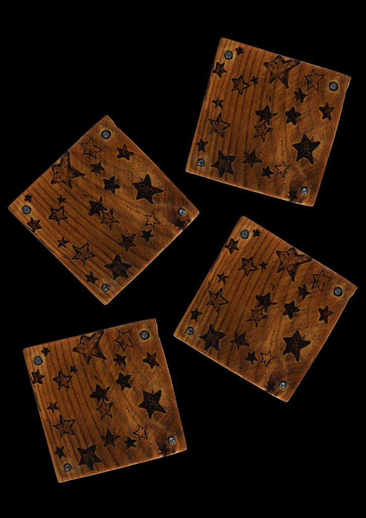 Square wooden handcrafted coaster set with stars